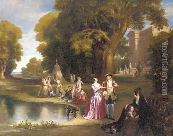 Elegant figures before a country house Oil Painting - Henry Andrews