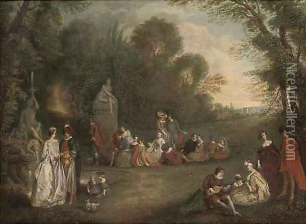 Elegant figures engaged in poetical pursuits, in an extensive landscape Oil Painting - Henry Andrews