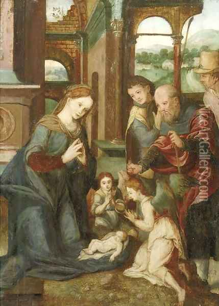The Adoration of the Shepherds 2 Oil Painting - Pieter Coecke Van Aelst