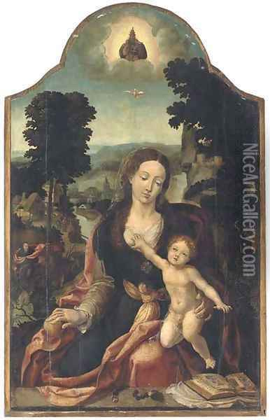 The Virgin and Child in an extensive river landscape Oil Painting - Pieter Coecke Van Aelst