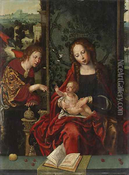 The Virgin and Child enthroned, with the Angel Gabriel proffering a lily a fragment Oil Painting - Pieter Coecke Van Aelst