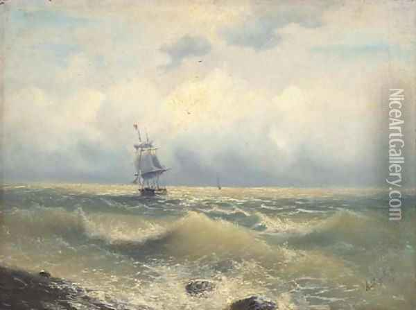 A two masted barque running along the coast Oil Painting - Ivan Konstantinovich Aivazovsky