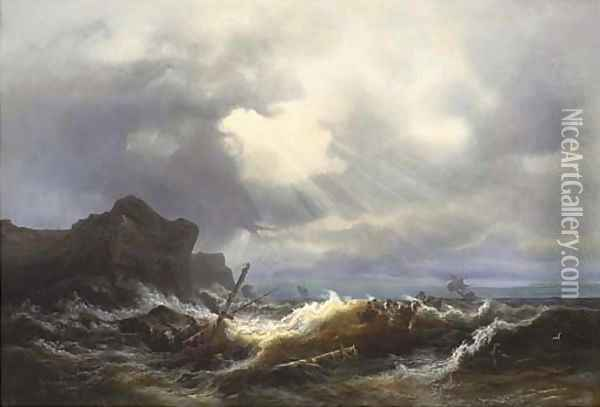 Shipwreck off the coast in a stormy sea Oil Painting - Ivan Konstantinovich Aivazovsky