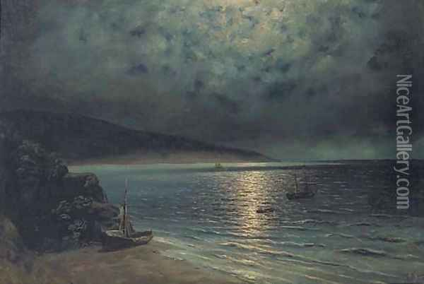 Rowing ashore by moonlight Oil Painting - Ivan Konstantinovich Aivazovsky