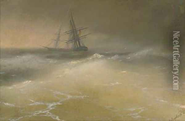 Ships in a story sea Oil Painting - Ivan Konstantinovich Aivazovsky