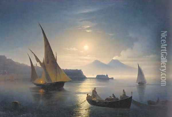 The bay of Naples by moonlight Oil Painting - Ivan Konstantinovich Aivazovsky