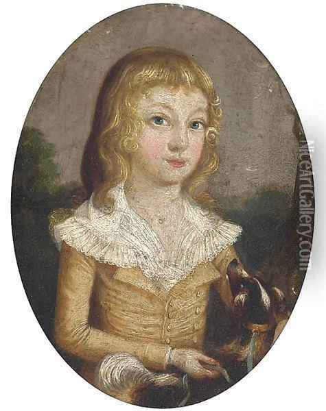 Portrait of a girl and her dog Oil Painting - Francis Alleyne