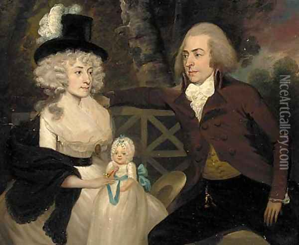 A group portrait of a husband, wife and their child Oil Painting - Francis Alleyne