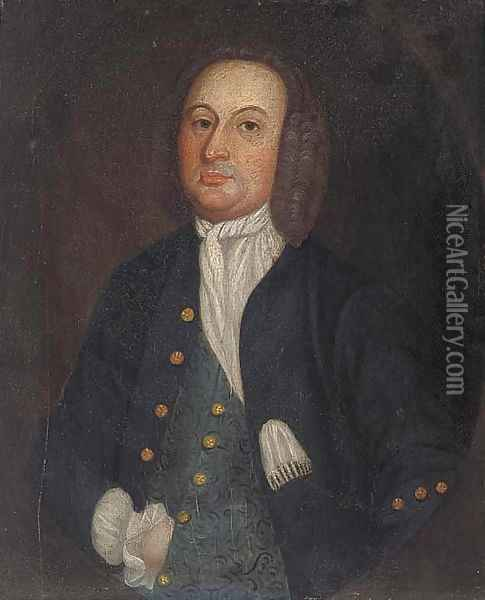 Portrait of a gentleman, small half-length, in a feigned oval Oil Painting - Francis Alleyne