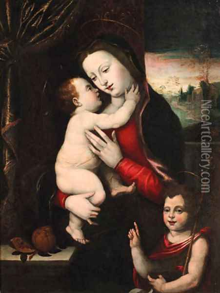 The Madonna and Child with the Infant Saint John the Baptist Oil Painting - Mariotto Albertinelli