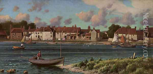 Fishing boats in a Rye harbour Oil Painting - Reginald Aspinwall