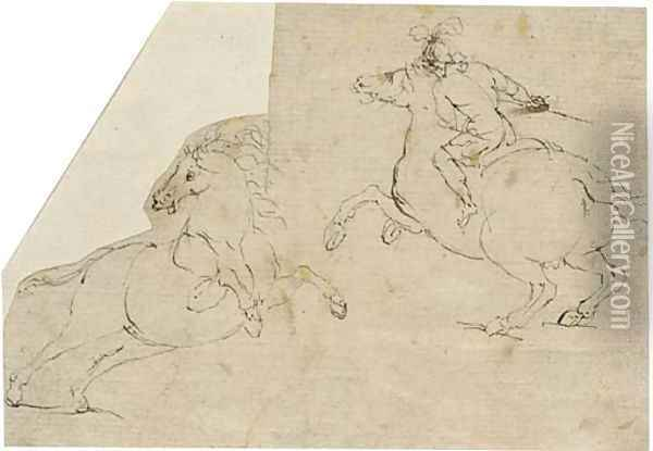 A horseman in profile to the left and a rearing horse in profile to the right Oil Painting - Francesco Allegrini