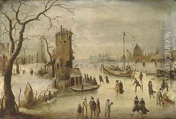 A frozen river landscape with skaters, a church beyond Oil Painting - Hendrick Avercamp
