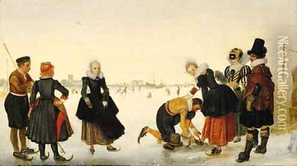 Elegant ladies and gentlemen taking to the ice on a frozen river with skaters and a town beyond Oil Painting - Hendrick Avercamp