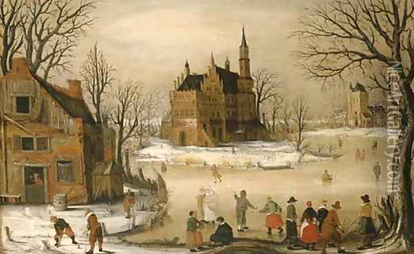 Figures in a winter landscape with a castle beyond Oil Painting - Hendrick Avercamp