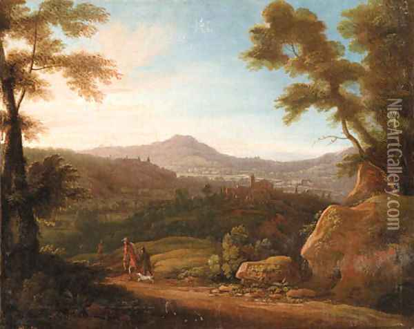 Italianate Landscapes with Hunters at Sunrise and Sunset Oil Painting - Jacques d' Arthois