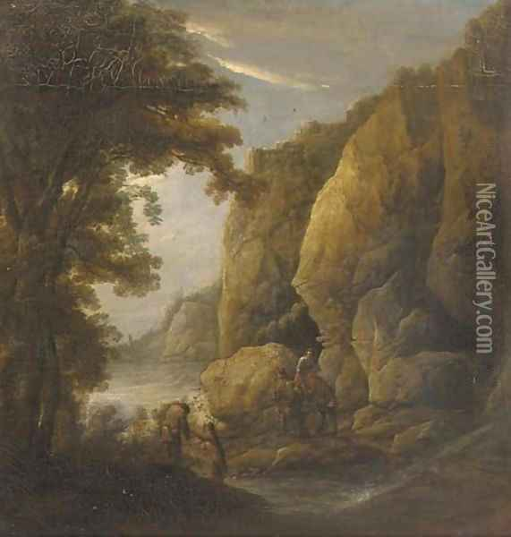 A mountain gorge with travellers on a path Oil Painting - Jacques d' Arthois
