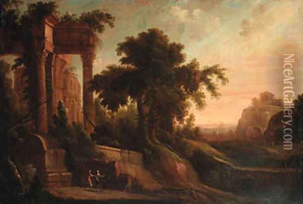 An Italianate landscape with figures by a ruined classical temple Oil Painting - Jacques d' Arthois