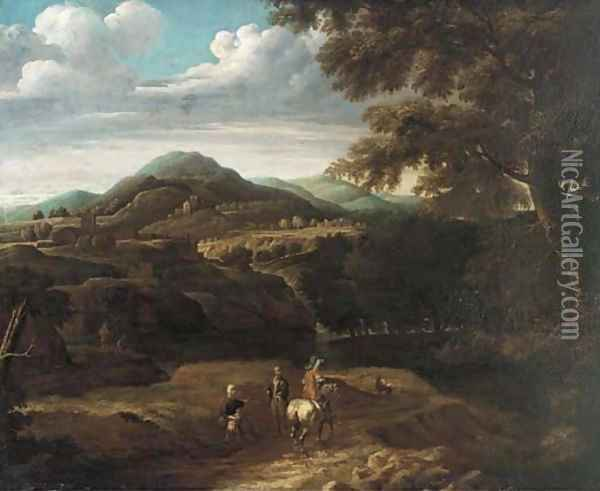 A wooded mountainous landscape with travellers on a track Oil Painting - Jacques d' Arthois
