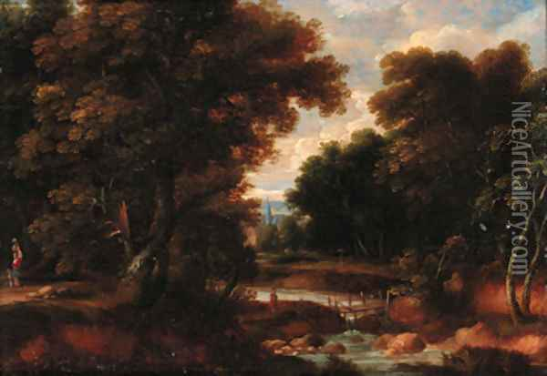 A wooded river landscape with figures on a track, a church beyond Oil Painting - Jacques d' Arthois