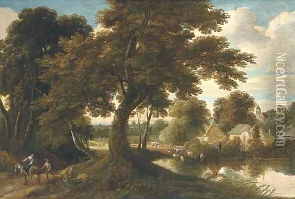 A wooded village landscape with a drover and his cattle crossing a ford and figures on a track Oil Painting - Jacques d' Arthois