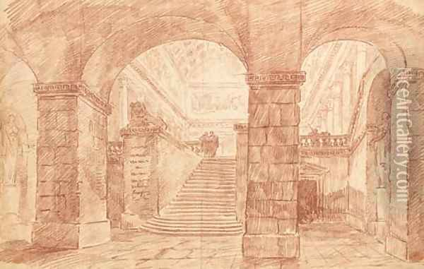 A view of the church of San Martino ai Monte, Rome, from the confession Oil Painting - Jean-Robert Ango