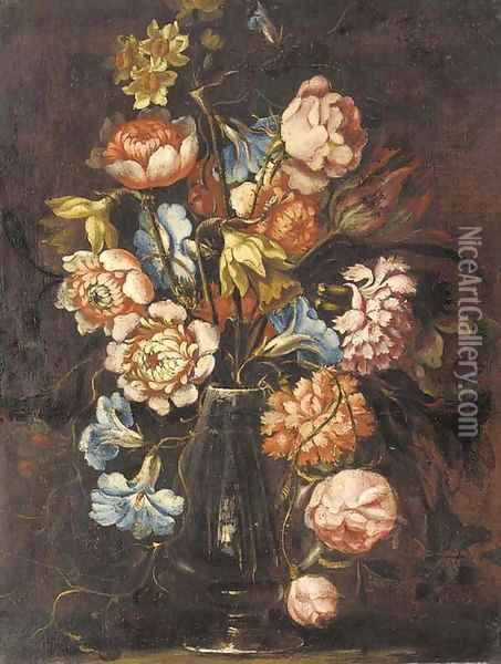 Carnations, tulips, daffodils, roses and other flowers in a glass vase on a ledge Oil Painting - Juan De Arellano