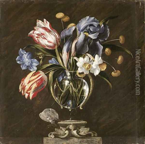 Tulips, daffodils, irises and other flowers in a glass vase on a sculpted stand, with a butterfly Oil Painting - Juan De Arellano