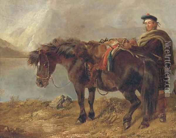 A gillie with a pony by a loch Oil Painting - Richard Ansdell