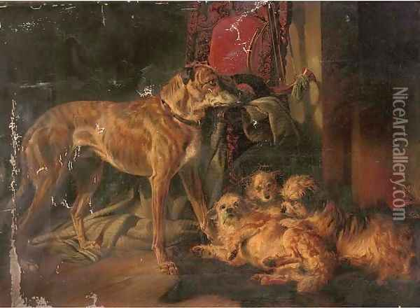 A Scottish deerhound and three dandy dinmonts by an open fire Oil Painting - Richard Ansdell