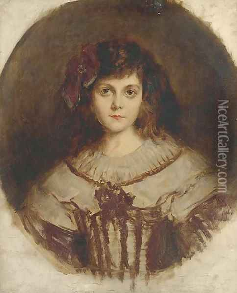 Portrait of a young girl, bust-length, with a red bow in her hair Oil Painting - Rene Avigdor