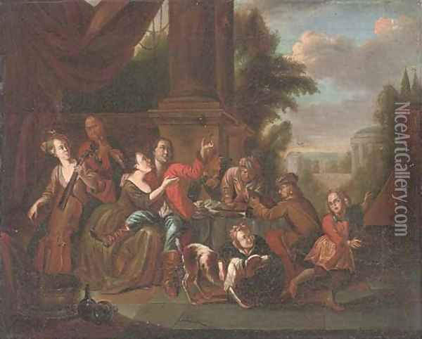 Elegant company drinking and music making in a courtyard Oil Painting - Joseph van Aken