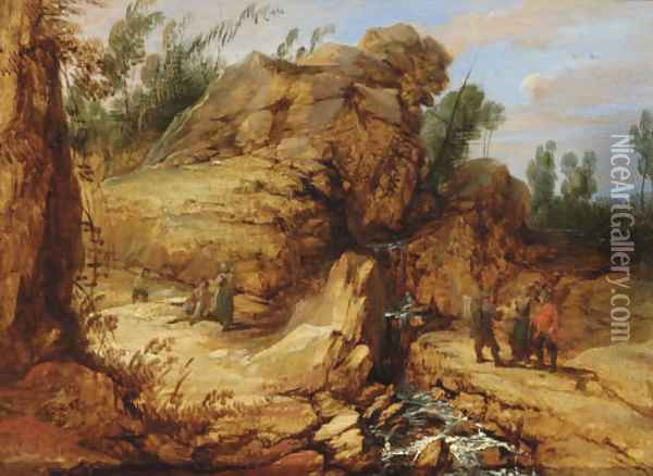 A rocky river landscape with travellers in the foreground Oil Painting - Lucas Achtschellinck