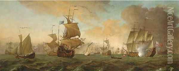 The return of Anson's ship the Centurion, with the flagship saluting her arrival Oil Painting - Thomas Allen