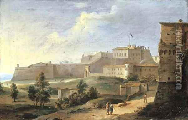 A view of a fortress Oil Painting - Paolo Anesi