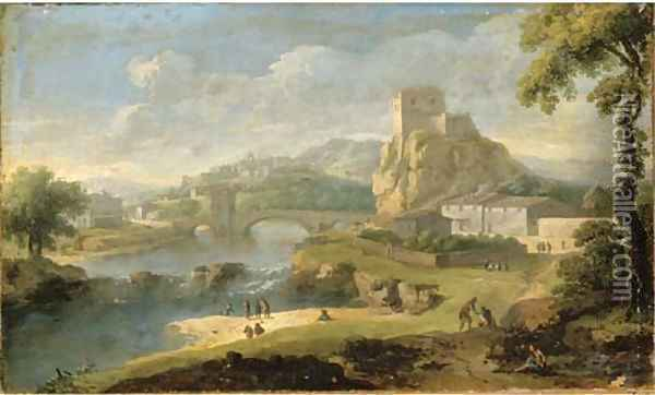 Figures in a river landscape with a bridge and walled city beyond Oil Painting - Paolo Anesi