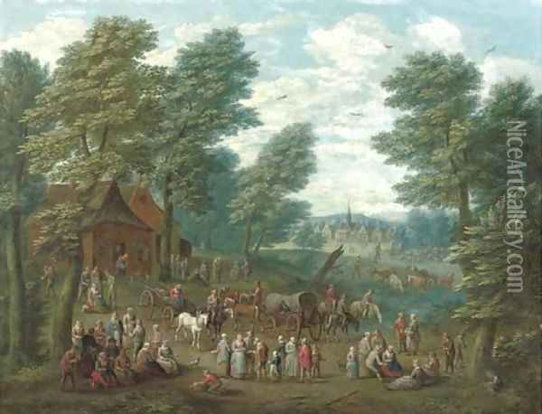 A wooded landscape with numerous peasants and carriages in an open clearing Oil Painting - School Of Antwerp