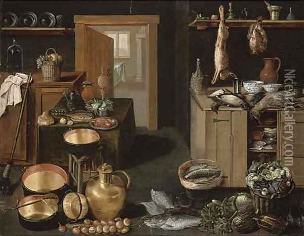 A kitchen interior with dead game on a wooden ledge Oil Painting - School Of Antwerp