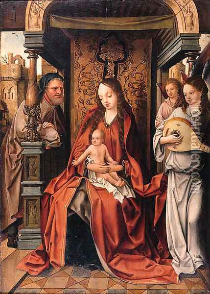 The Virgin and Child enthroned with Saint Joseph and music-making Angels Oil Painting - School Of Antwerp