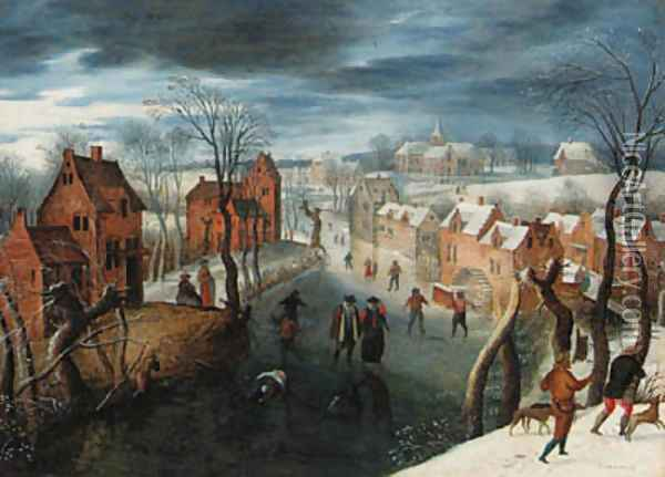 A landscape with skaters on a frozen river by a village, hunters in the foreground Oil Painting - School Of Antwerp
