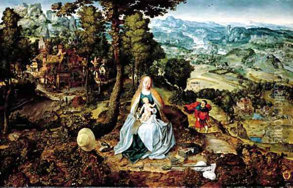 An extensive landscape with The Rest on the Flight to Egypt Oil Painting - School Of Antwerp