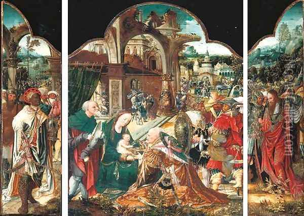 The Adoration of the Magi a triptych Oil Painting - School Of Antwerp