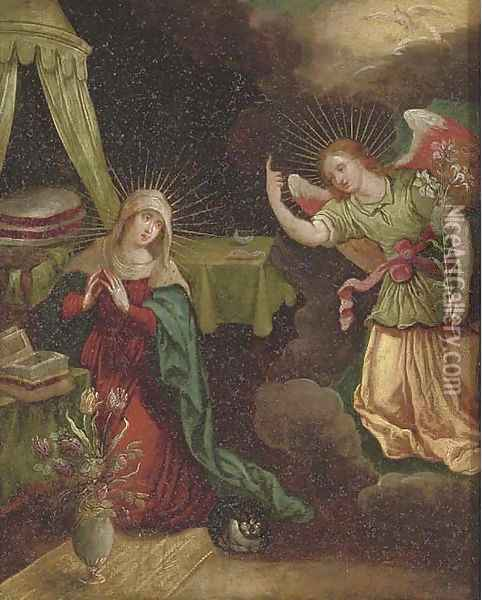 The Annunciation Oil Painting - School Of Antwerp