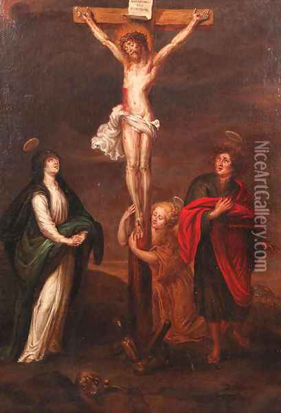 The Crucifixion Oil Painting - School Of Antwerp