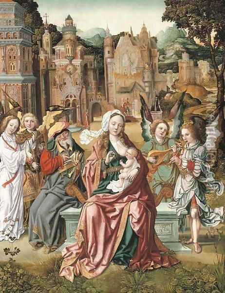 The Holy Family with music-making angels, a city beyond Oil Painting - School Of Antwerp