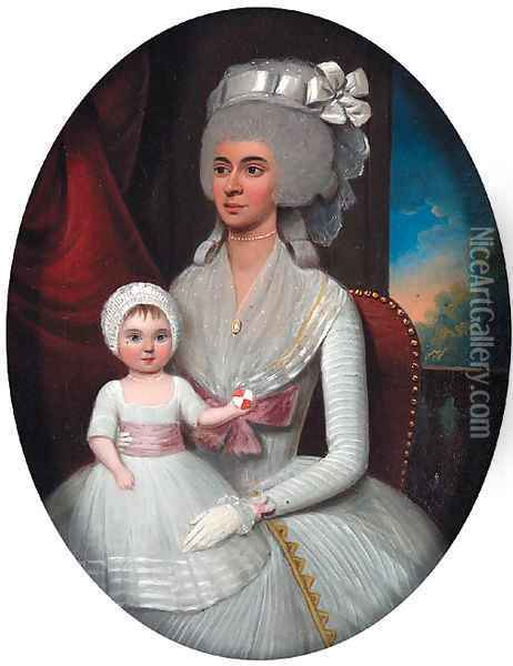 Group Portrait of a Mother and Child Oil Painting - Francis Alleyne