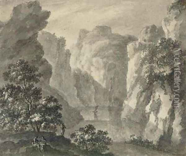 A gorge with a boat and figures in the foreground Oil Painting - Robert Adam