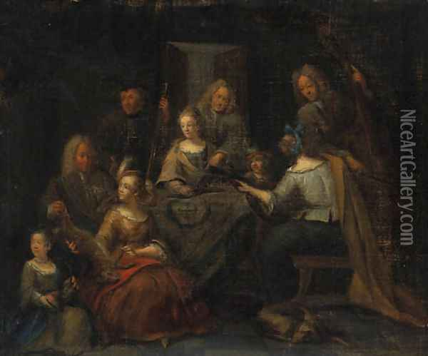 Elegant Company making Music in an Interior with a Sportsman showing a Lady Trophies of the Hunt Oil Painting - Pieter Angillis