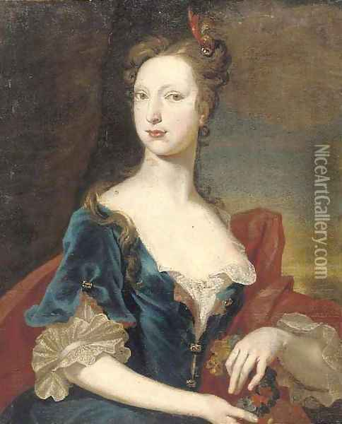 Portrait of a lady, half-length, in a blue dress and red wrap, holding a garland of flowers Oil Painting - William Aikman