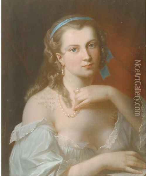 A young beauty wearing a pearl necklace Oil Painting - Akos Von Aranyossy